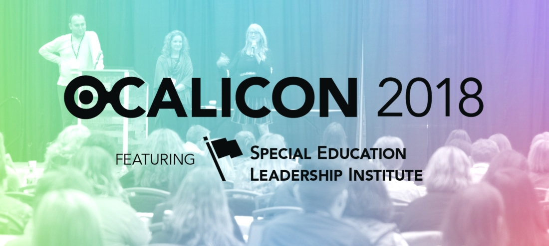 Three presenters talking to an audience with OCALICON 2018 logo