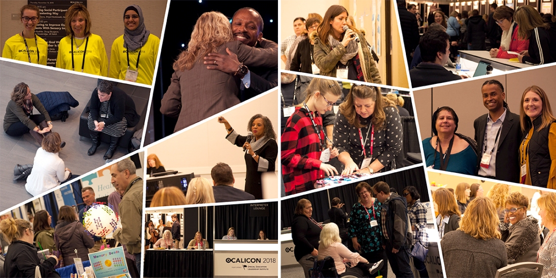 Collage of photos of attendees and presenters at OCALICON 2018