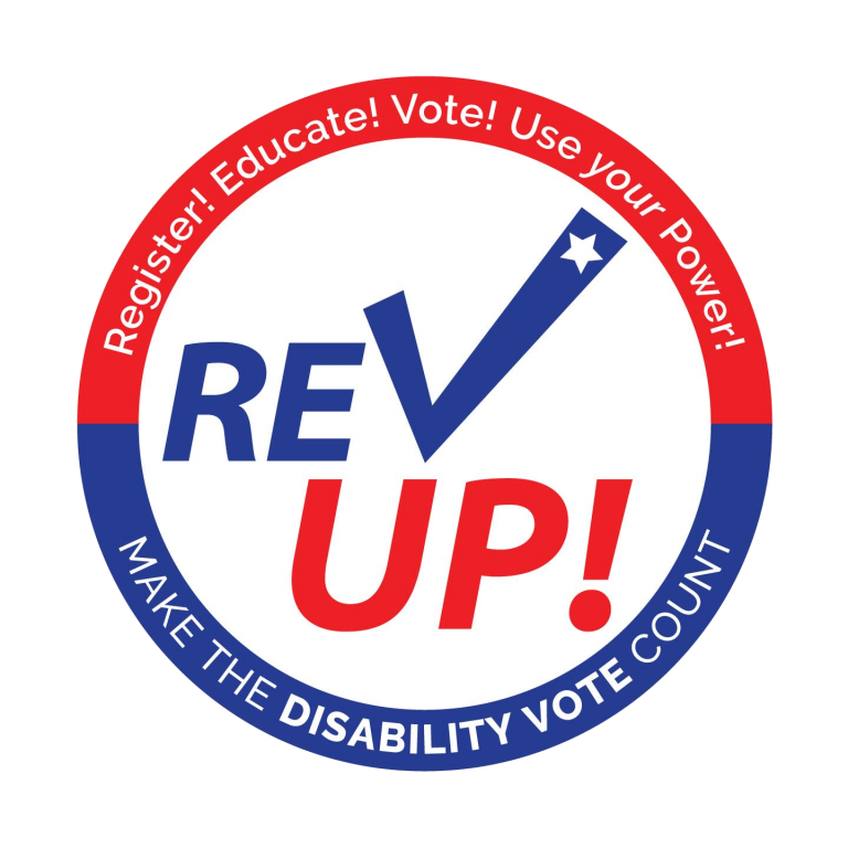 Rev Up Make the Disability Vote count circle graphic
