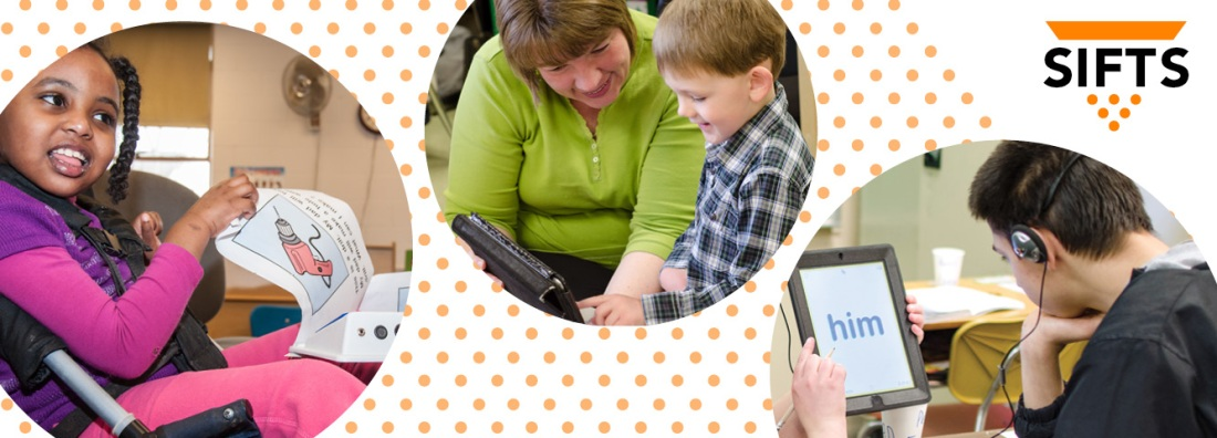 students using different assistive technology devices