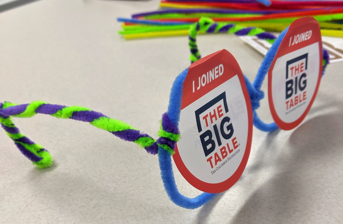 "Glasses made from pipe cleaners that say ""I joined the Big Table"""
