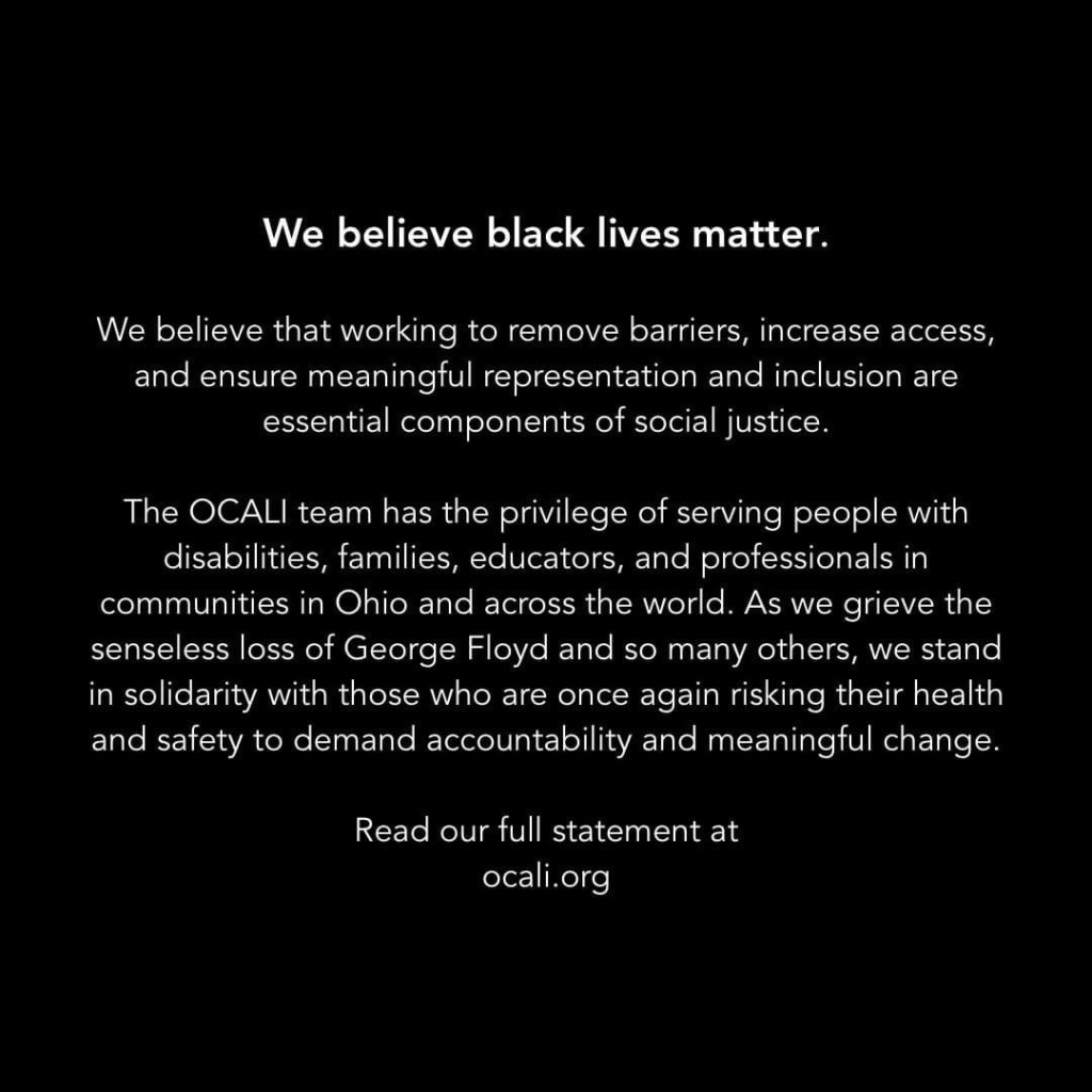 OCALI's statement on racial justice and inequality