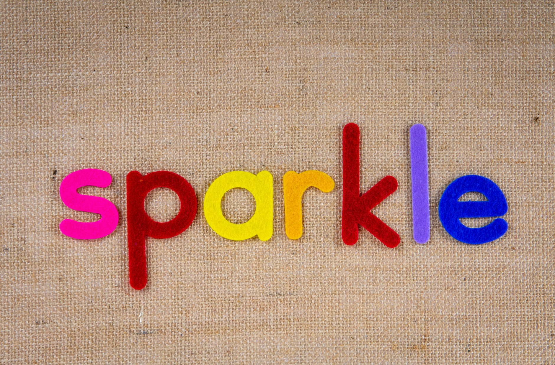 """Colored letters spell the word """"sparkle"""""""
