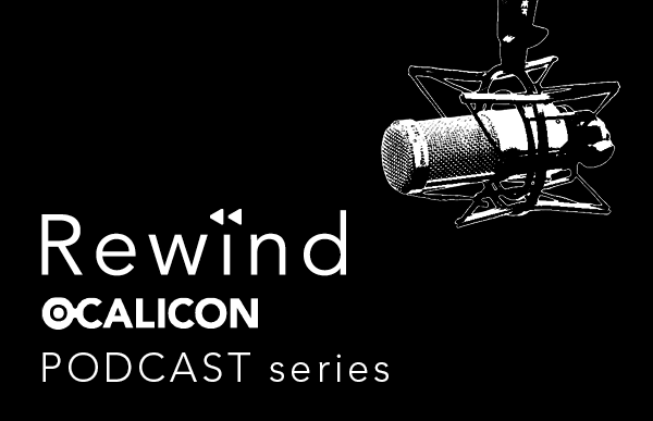 Rewind OCALICON podcast series with an image of a microphone