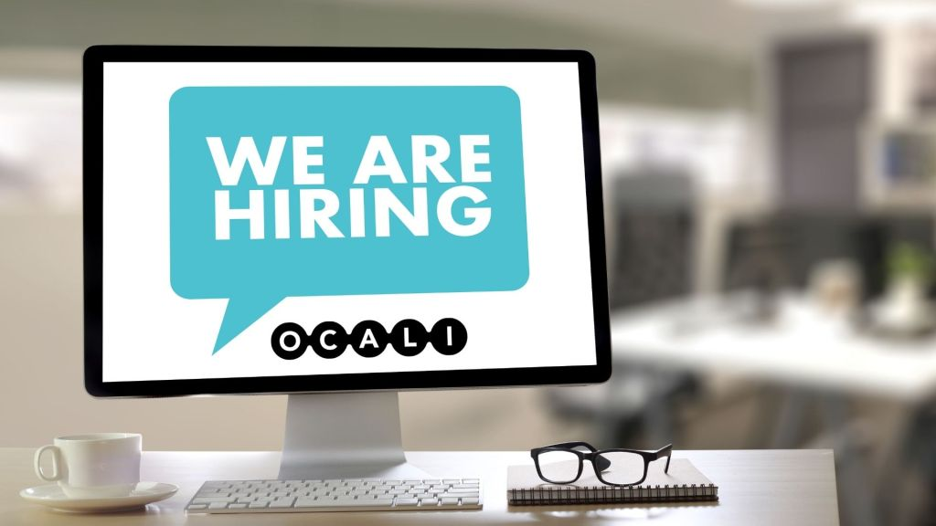 Computer screen with text: We Are Hiring and OCALI logo