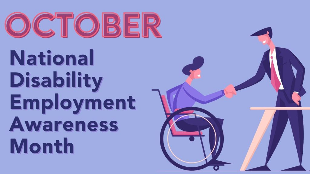 October National Disability Employment Awareness Month - Person in wheelchair and business person standing, shaking hands